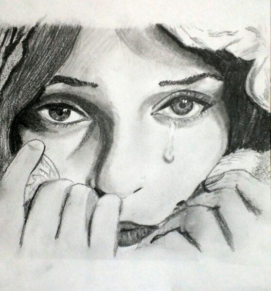Vẽ tranh cô gái khóc bằng bút chì đẹp