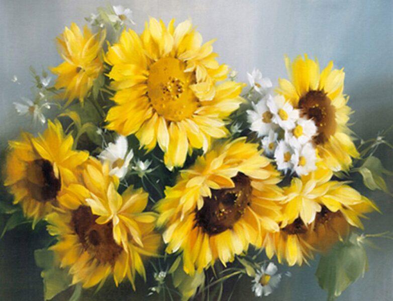 vẽ tranh đề tài hoa hướng dương bó hoa hướng dương và cúc họa mi đẹp