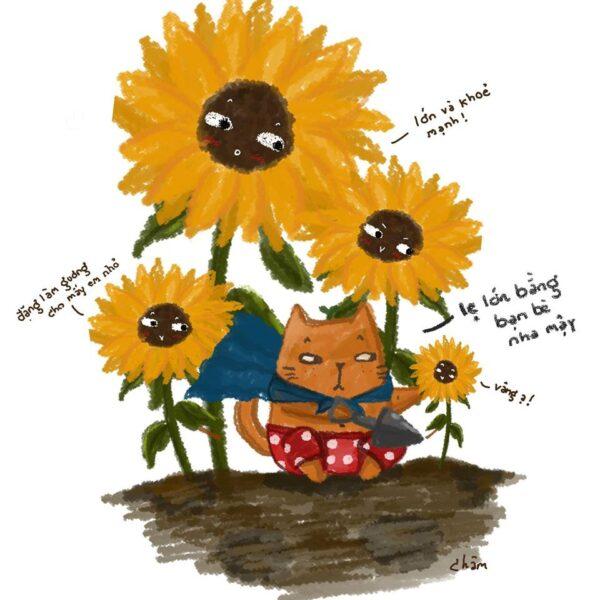 vẽ tranh đề tài hoa hướng dương cực dễ thương cho các bé