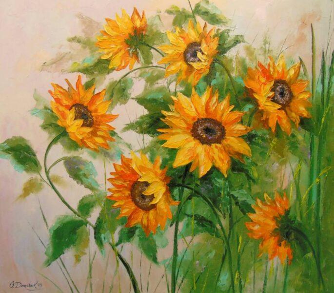 vẽ tranh đề tài hoa hướng dương khóm hoa rực rỡ