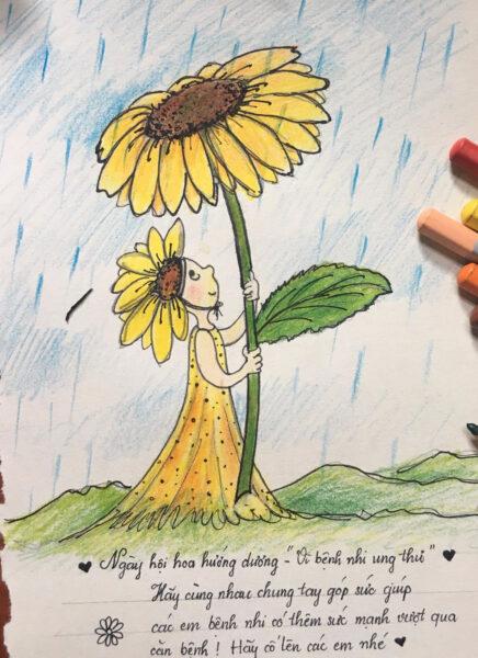 vẽ tranh đề tài hoa hướng dương ngày hội Vì bệnh nhi ung thư