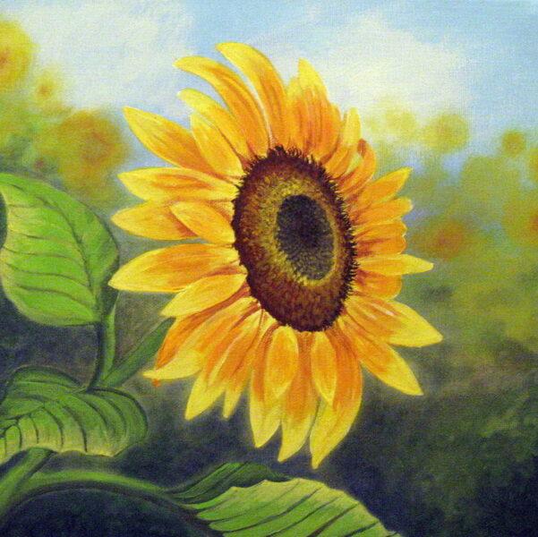 vẽ tranh đề tài hoa hướng dương rực rỡ dưới nắng