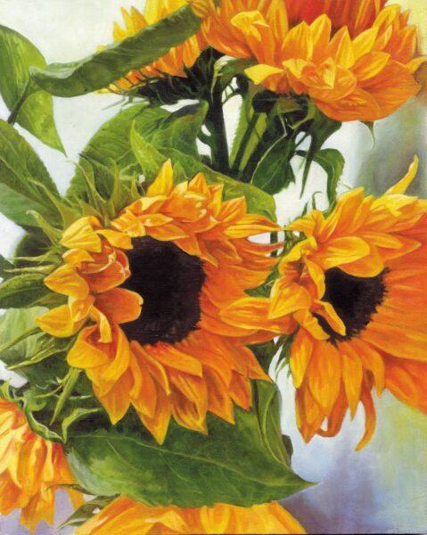 vẽ tranh đề tài hoa hướng dương tranh sơn dầu 5D