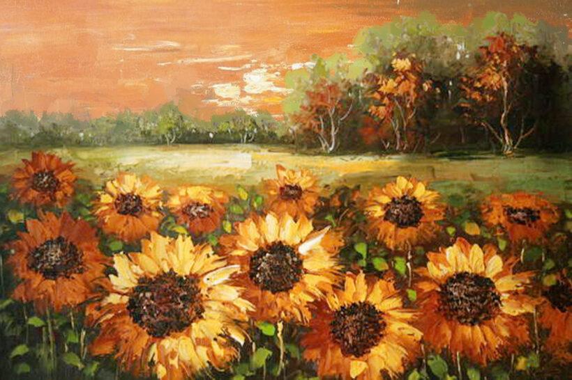vẽ tranh đề tài hoa hướng dương tranh sơn dầu của họa sĩ