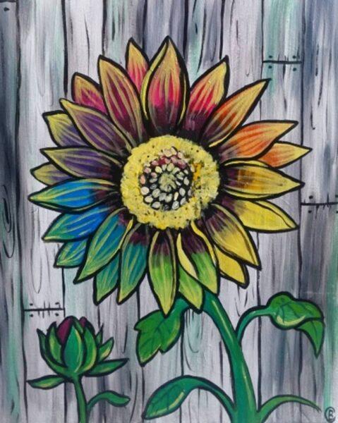 vẽ tranh đề tài hoa hướng dương trên gỗ