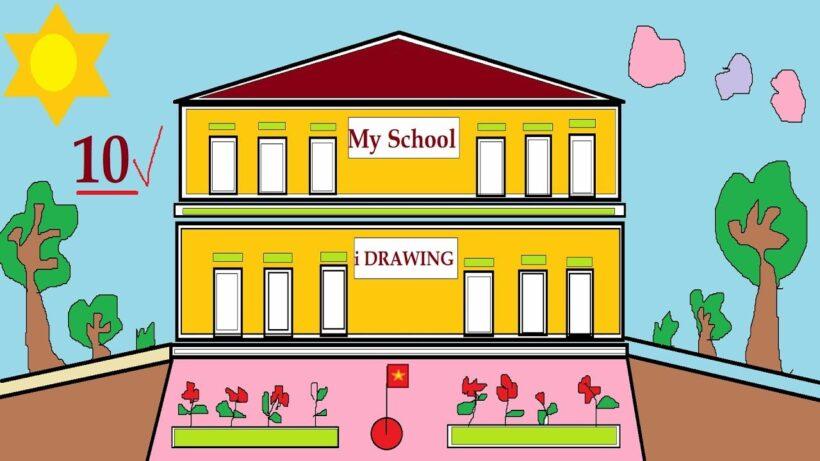vẽ tranh đề tài ngôi trường mơ ước của em