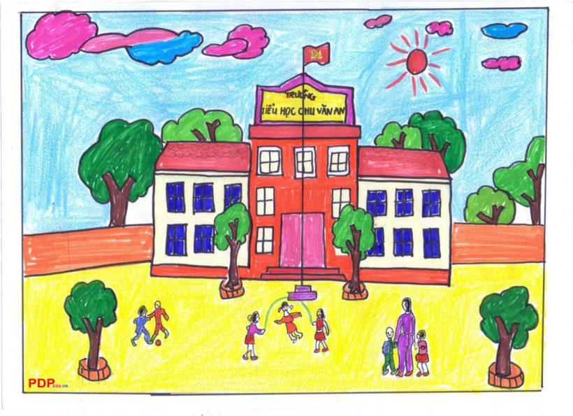 vẽ tranh đề tài trường em