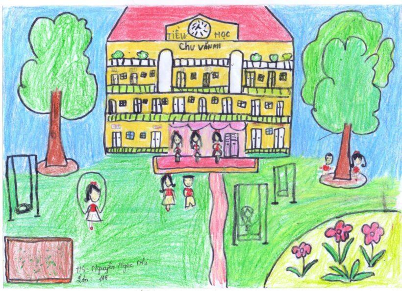vẽ tranh đề tài trường em của học sinh lớp 1