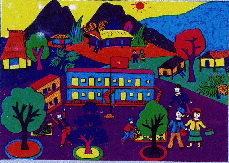 vẽ tranh đề tài trường em của học sinh tiểu học