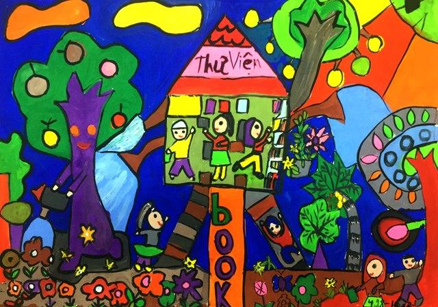 vẽ tranh đề tài trường em đẹp của học sinh
