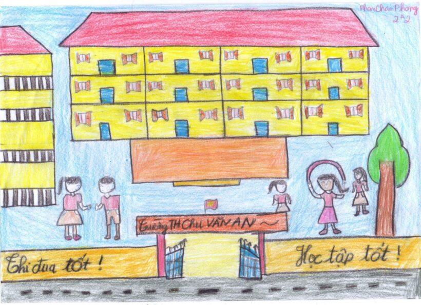 vẽ tranh đề tài trường em trung học cơ sở