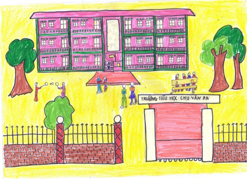 vẽ tranh đề tài trường em trường tiểu học đơn giản nhất
