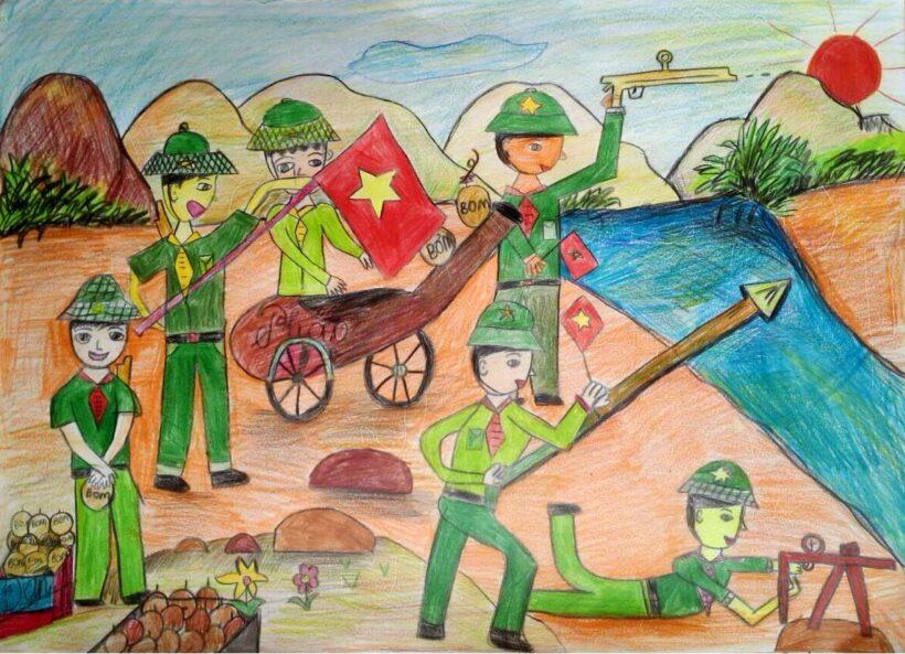 vẽ tranh đề tài tự chọn các chú bộ đội đang làm nhiệm vụ