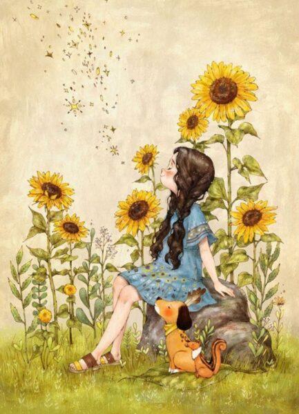 vẽ tranh đề tài tự chọn cô gái trong vườn hoa hướng dương