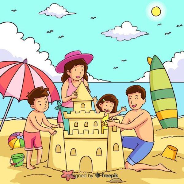 vẽ tranh đề tài tự chọn đơn giản gia đình đi tắm biển