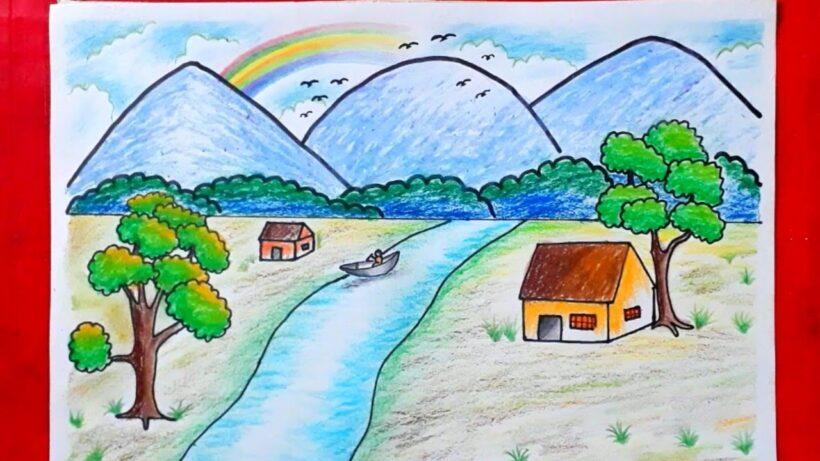vẽ tranh đề tài tự chọn đơn giản về phong cảnh quê hương