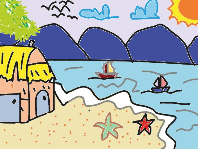 vẽ tranh đề tài tự chọn phong cảnh biển
