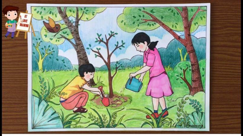 vẽ tranh đề tài tự chọn trồng cây
