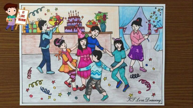 vẽ tranh đề tài tự chọn tự do chúc mừng sinh nhật