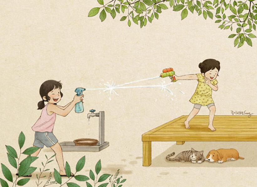 vẽ tranh đề tài tự chọn tự do hai chị em gái chơi đùa cùng nhau