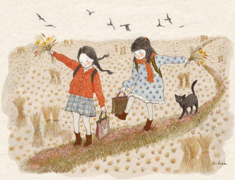 vẽ tranh đề tài tự chọn tự do hai chị em gái đi trên cánh đồng lúa