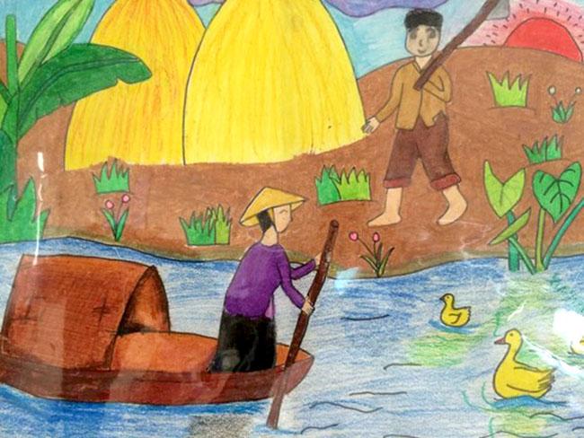 vẽ tranh đề tài tự chọn về người lái đò trên sông