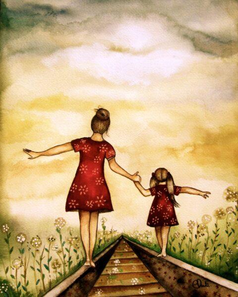 vẽ tranh đề tài tự do về mẹ và con gái đang cùng nhau đi trên đường ray