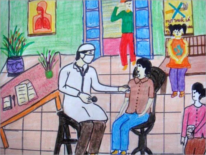 vẽ tranh đề tài ước mơ của em làm bác sĩ cứu chữa cho mọi người