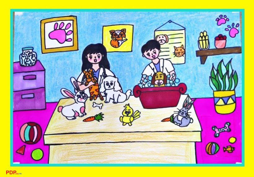 vẽ tranh đề tài ước mơ của em làm bác sĩ thú ý cứu chữa các vật nuôi