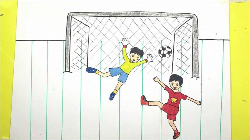 vẽ tranh đề tài ước mơ của em làm cầu thủ đá bóng