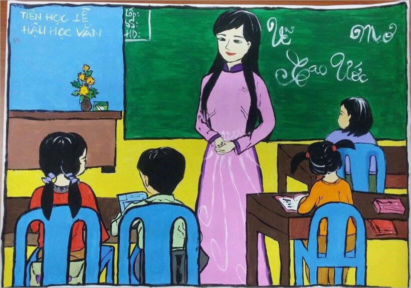 vẽ tranh đề tài ước mơ của em làm cô giáo thầy giáo