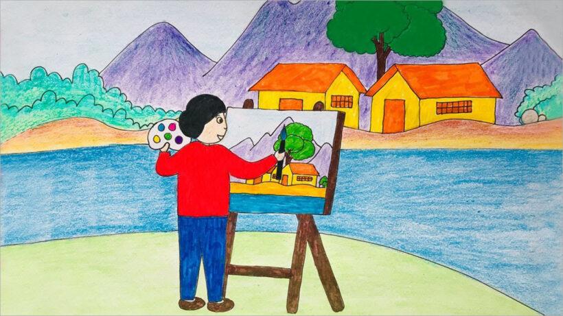 vẽ tranh đề tài ước mơ của em làm họa sĩ