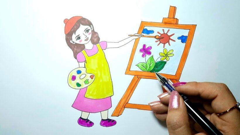 vẽ tranh đề tài ước mơ của em làm họa sĩ xinh đẹp