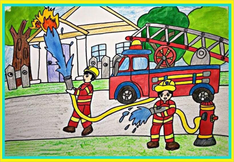 vẽ tranh đề tài ước mơ của em làm người lính cứu hỏa cho cộng đồng