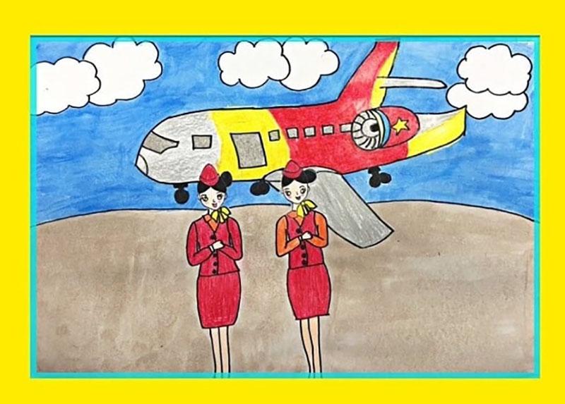vẽ tranh đề tài ước mơ của em làm tiếp viên hàng không
