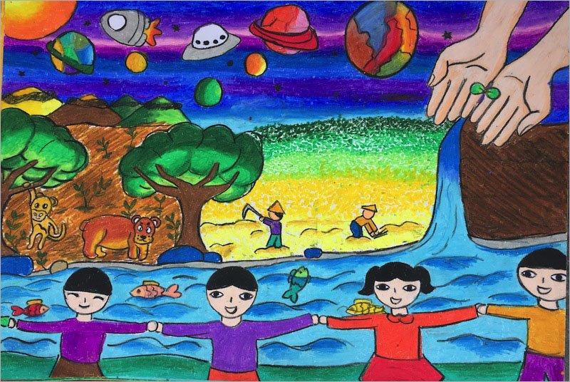 vẽ tranh đề tài ước mơ của em lớp 8 đơn giản nhất cứu trái đất và thế giới