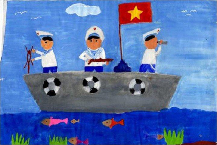 vẽ tranh đề tài ước mơ của em trở thành chú bộ đội hải quân canh giữ vùng biển