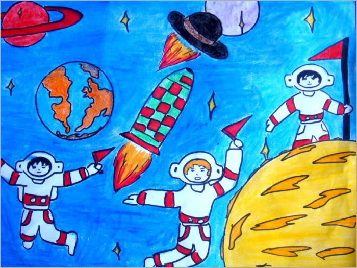 vẽ tranh đề tài ước mơ của em trở thành nhà du hành vũ trụ