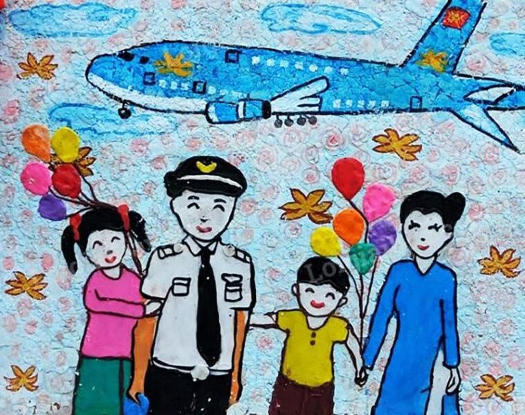vẽ tranh đề tài ước mơ của em trở thành tiếp viên hàng không và phi công
