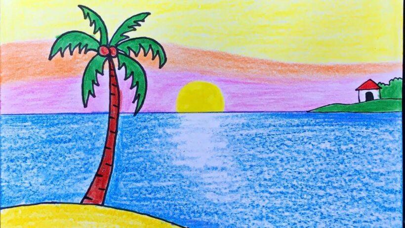Vẽ tranh đẹp phong cảnh biển bằng sáp màu