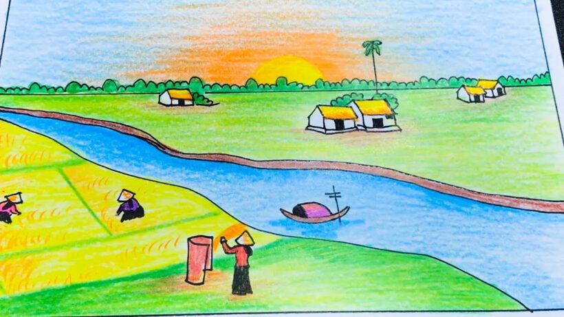 Vẽ tranh đẹp về cánh đồng quê hương