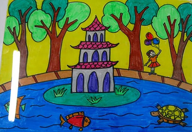 vẽ tranh hà nội đẹp của học sinh