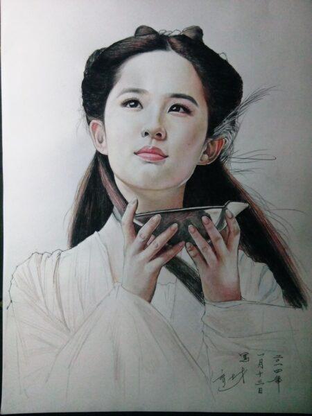 Vẽ tranh Lưu Điệc Phi đẹp