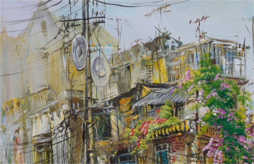 vẽ tranh phố cổ hà nội của họa sĩ