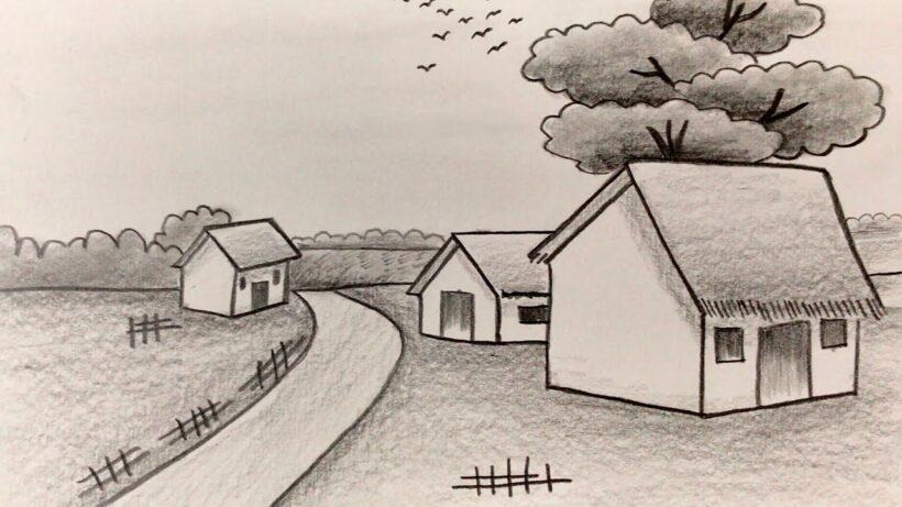 Vẽ tranh phong cảnh bằng bút chì đẹp
