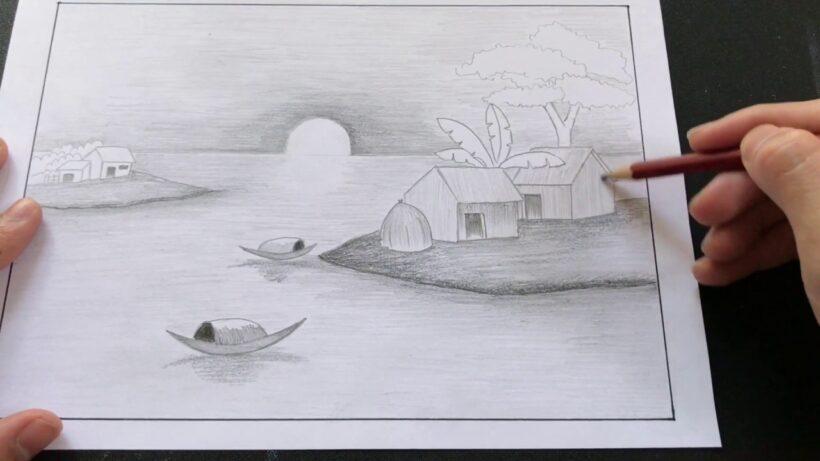 Vẽ tranh phong cảnh bằng bút chì đơn giản