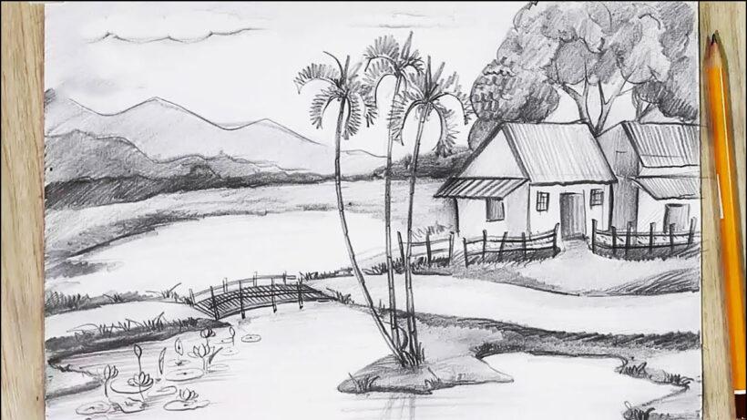 Vẽ tranh phong cảnh miền núi đẹp bằng bút chì