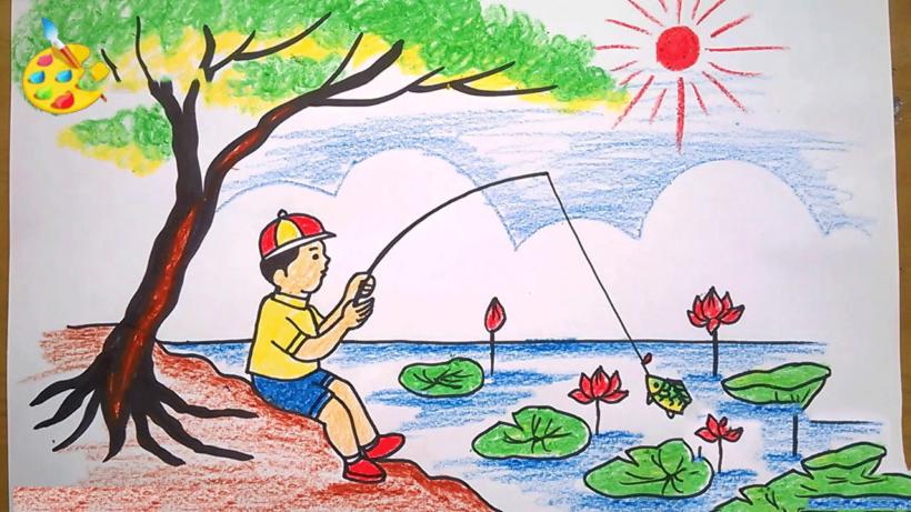 Vẽ tranh phong cảnh mùa hè câu cá