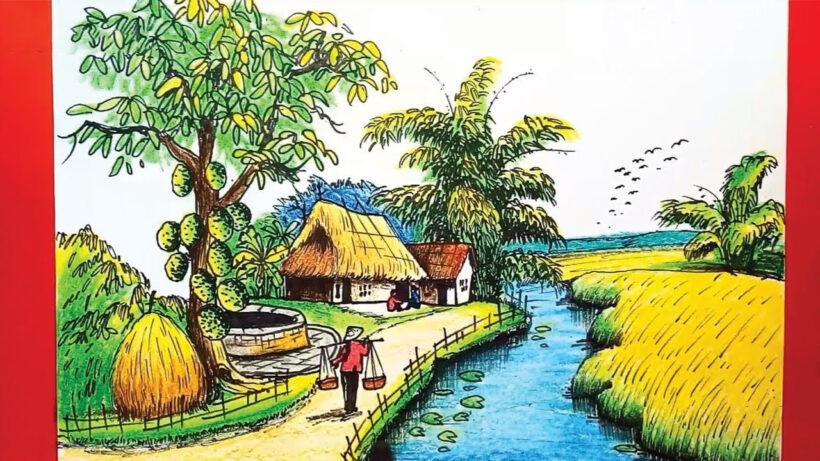 Vẽ tranh phong cảnh quê hương đẹp