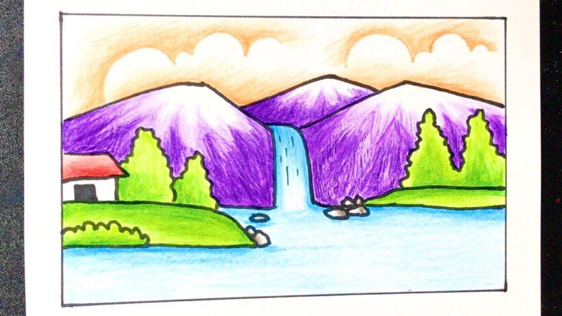 Vẽ tranh phong cảnh thác nước